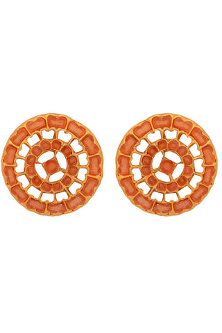 Red Coral Rangoli Earrings