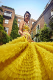 Lime Yellow Ruffle Skirt Lehenga FRONT