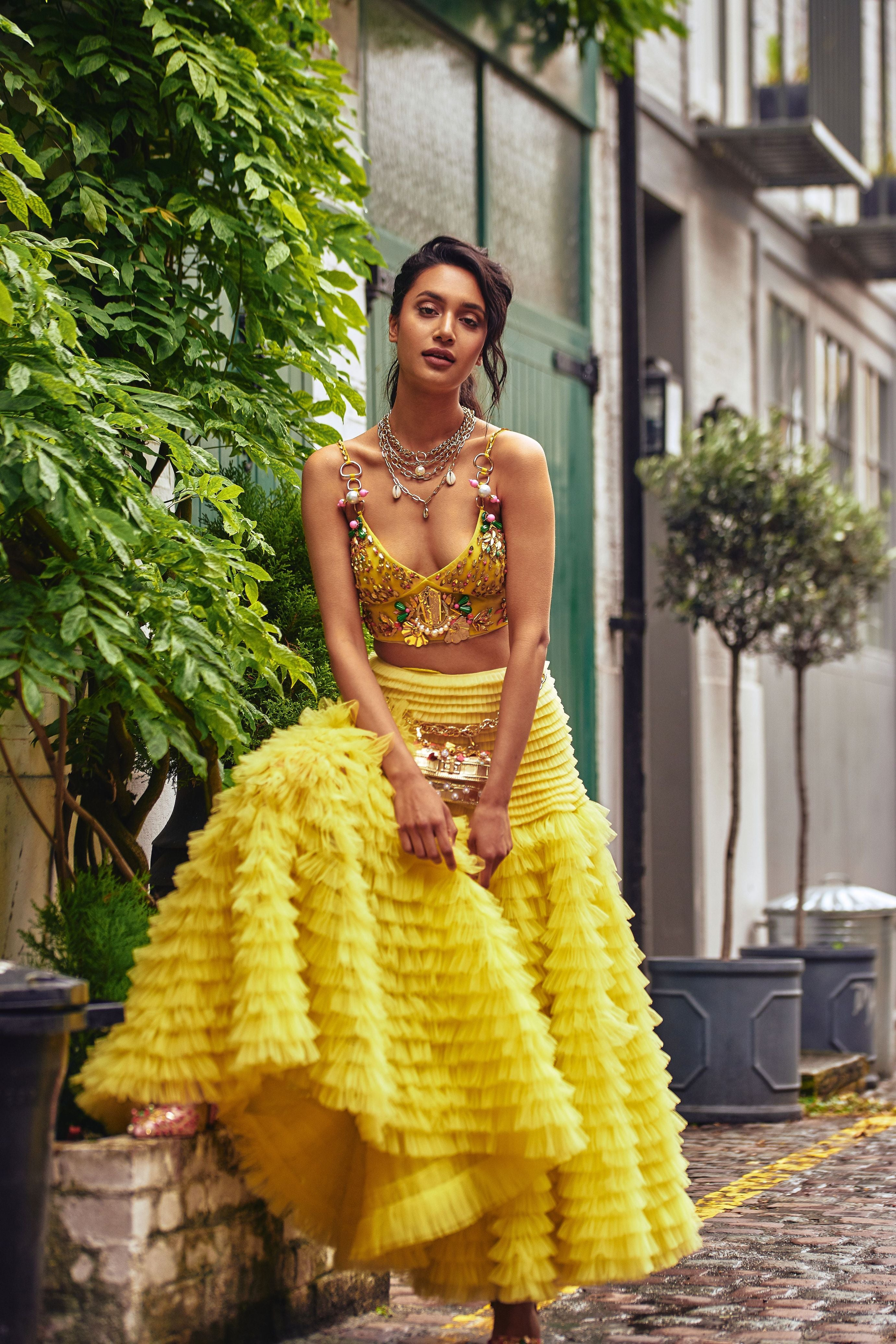 Lime Yellow Ruffle Skirt Lehenga SIDE