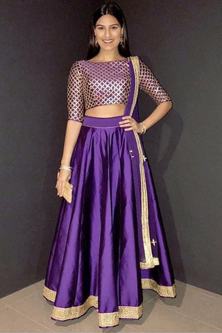 Purple Lehenga With Gota Patti Blouse & Dupatta