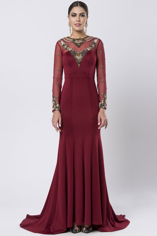 Maroon Fit & Flare Satin Lycra Gown FRONT
