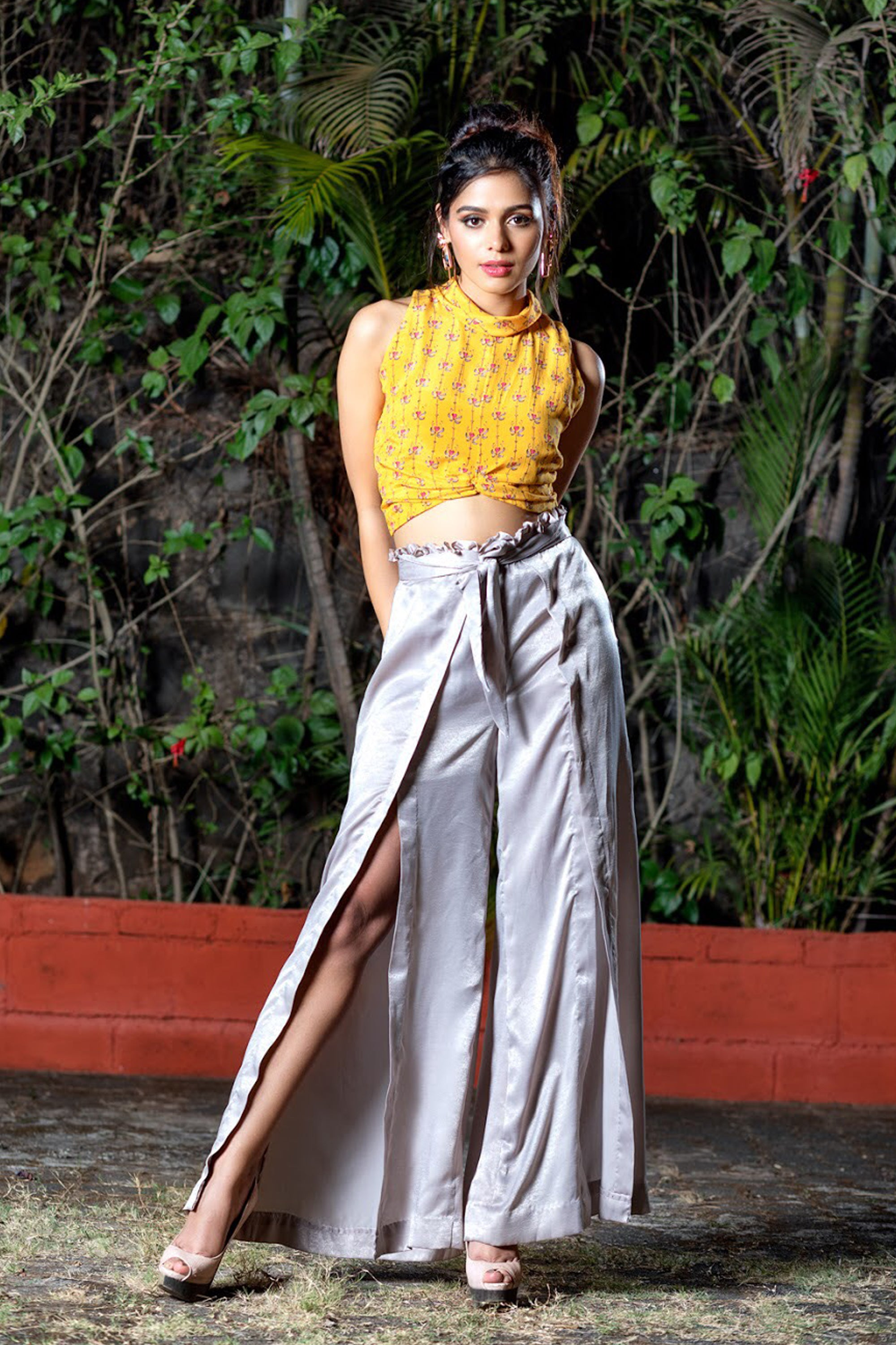 Yellow Printed Crop Top With Pallazos FRONT