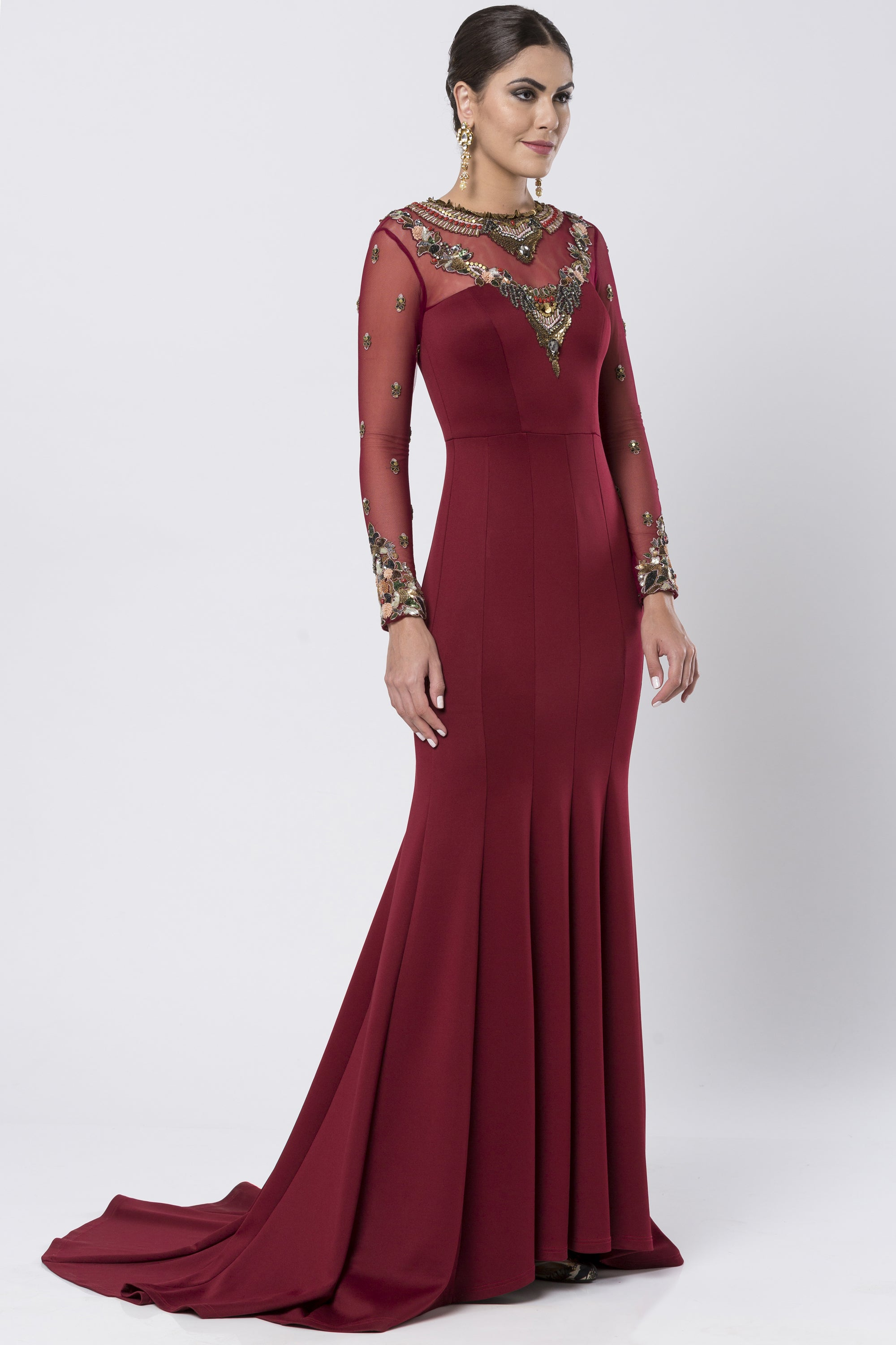 Maroon Fit & Flare Satin Lycra Gown SIDE