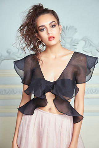 Black Ruffled Top With Beige Organza Skirt