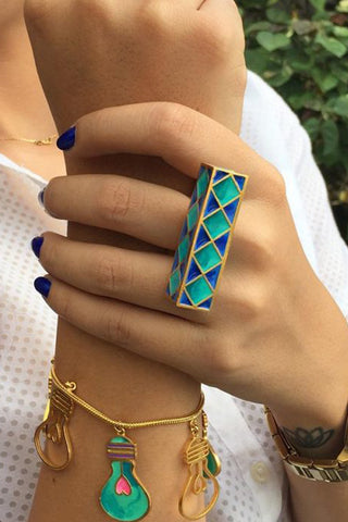 Blue Rectangular Madhubani Ring