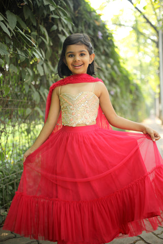 Gold Blouse With Red Skirt & Dupatta FRONT