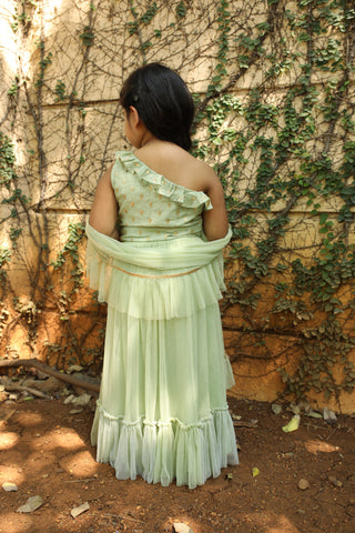 Moss Green Blouse With Skirt & Dupatta