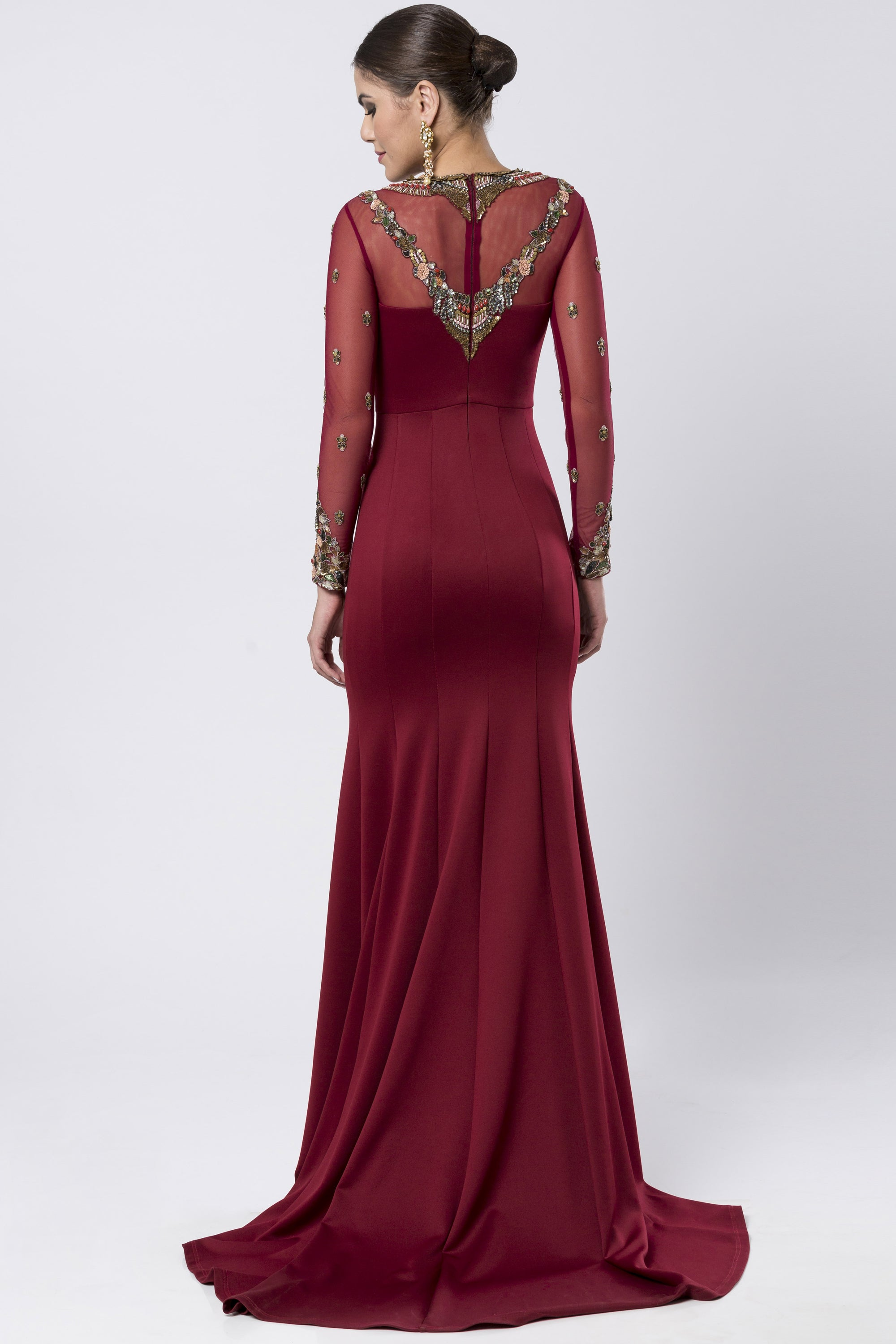 Maroon Fit & Flare Satin Lycra Gown BACK