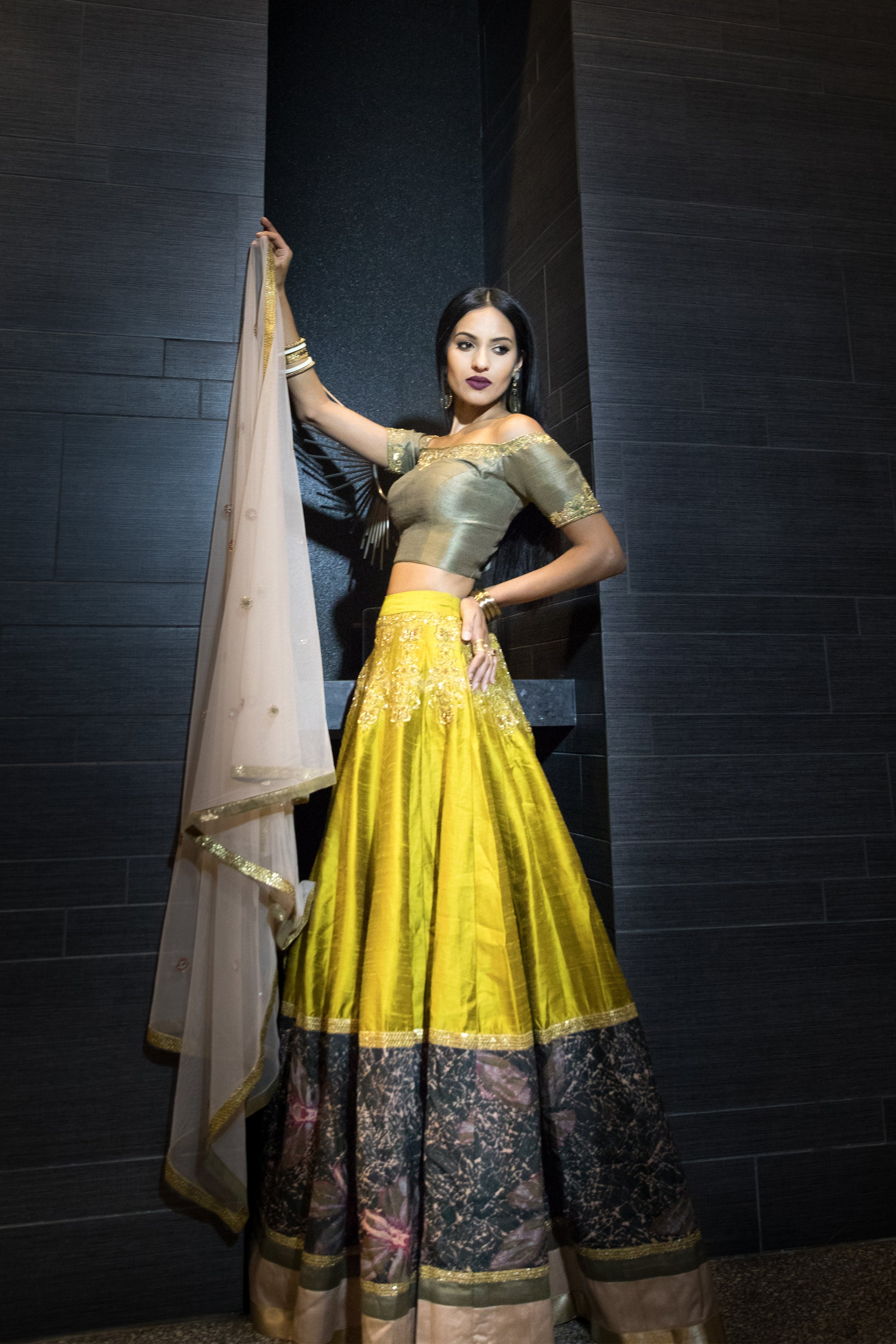Citron Raw Silk Paneled Skirt Set