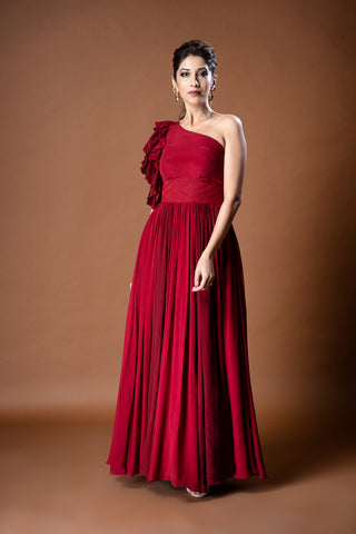 Red One Shoulder Gown FRONT