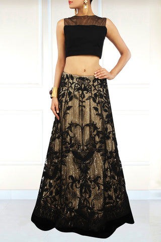 Black Sheer Net Lehenga and Velvet Blouse Front