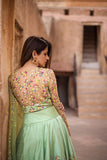 Tea Green Butterfly Lehenga With Embroidered Blouse & Dupatta Back