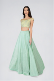 Sea Green Brocade Off Shoulder Top With Round Flare Skirt Lehenga Set FRONT