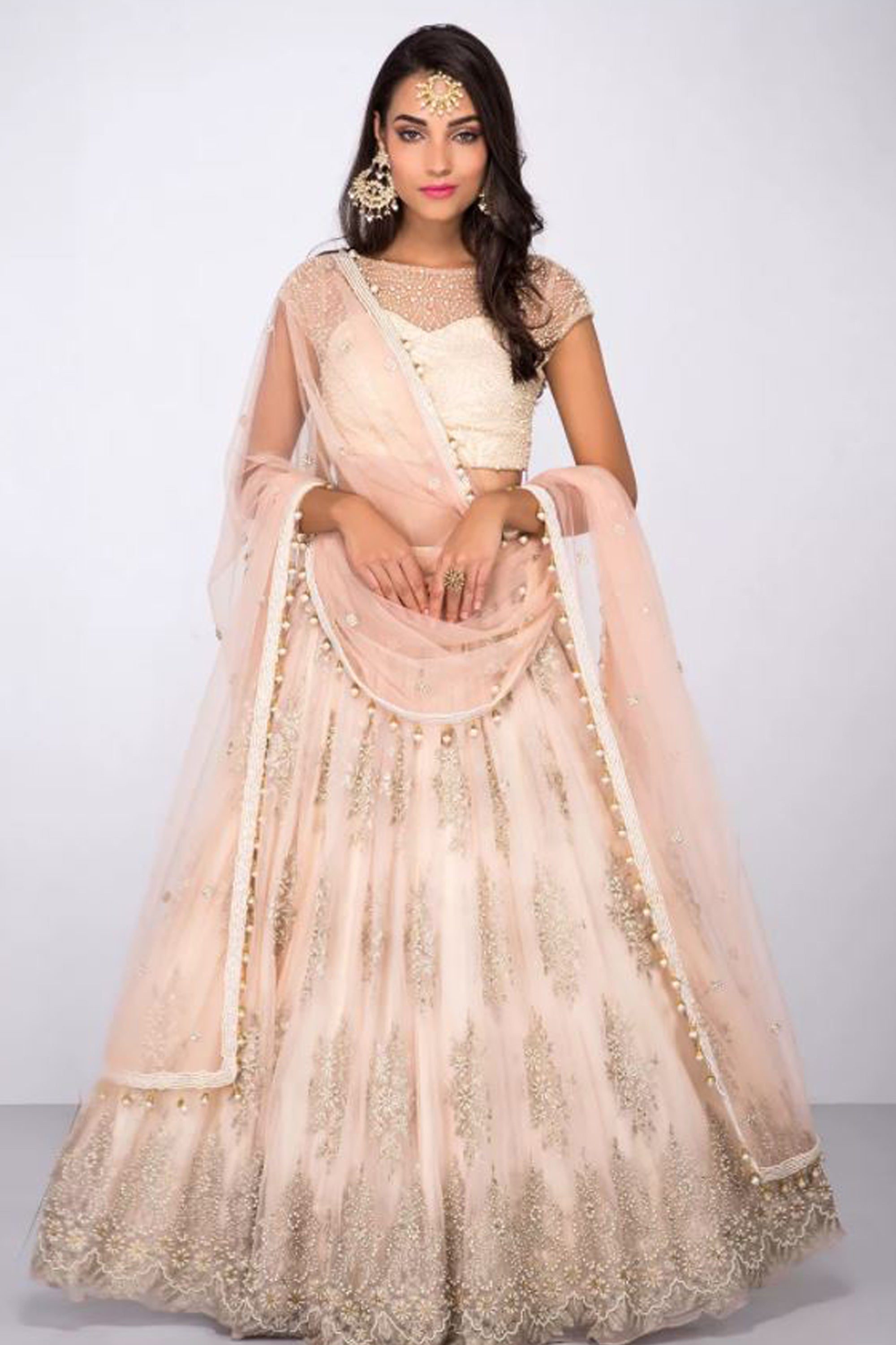 Rose Pink Lehenga With Pearl Work & Embroidery Front