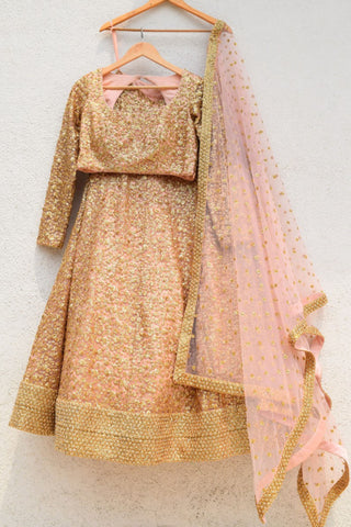 Rose Bud Pink & Gold Sequence Lehenga Set Front
