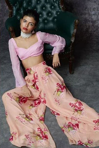 Pink Crop Top With Palazzo Pants
