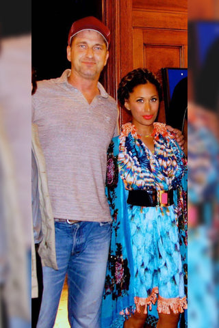 Preeya Kalidas and Gerard Butler wearing Papa Don't Preach