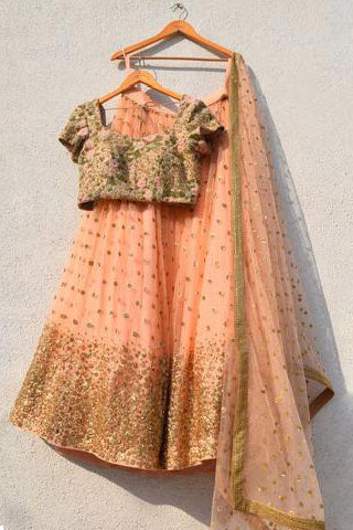 Peach Sequin Lehenga Set With Oyster Floral Blouse