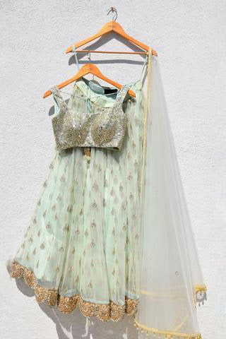 Pistachio Green Butti Lehenga Set With Mirror & Sequin Work