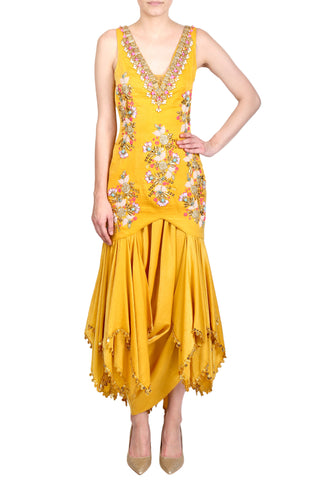 Mustard Yellow Satin Handkerchief Panelled Suit FRONT