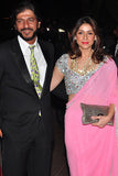 Bhavana Pandey with Husband Chunkey wearing Seema Khan