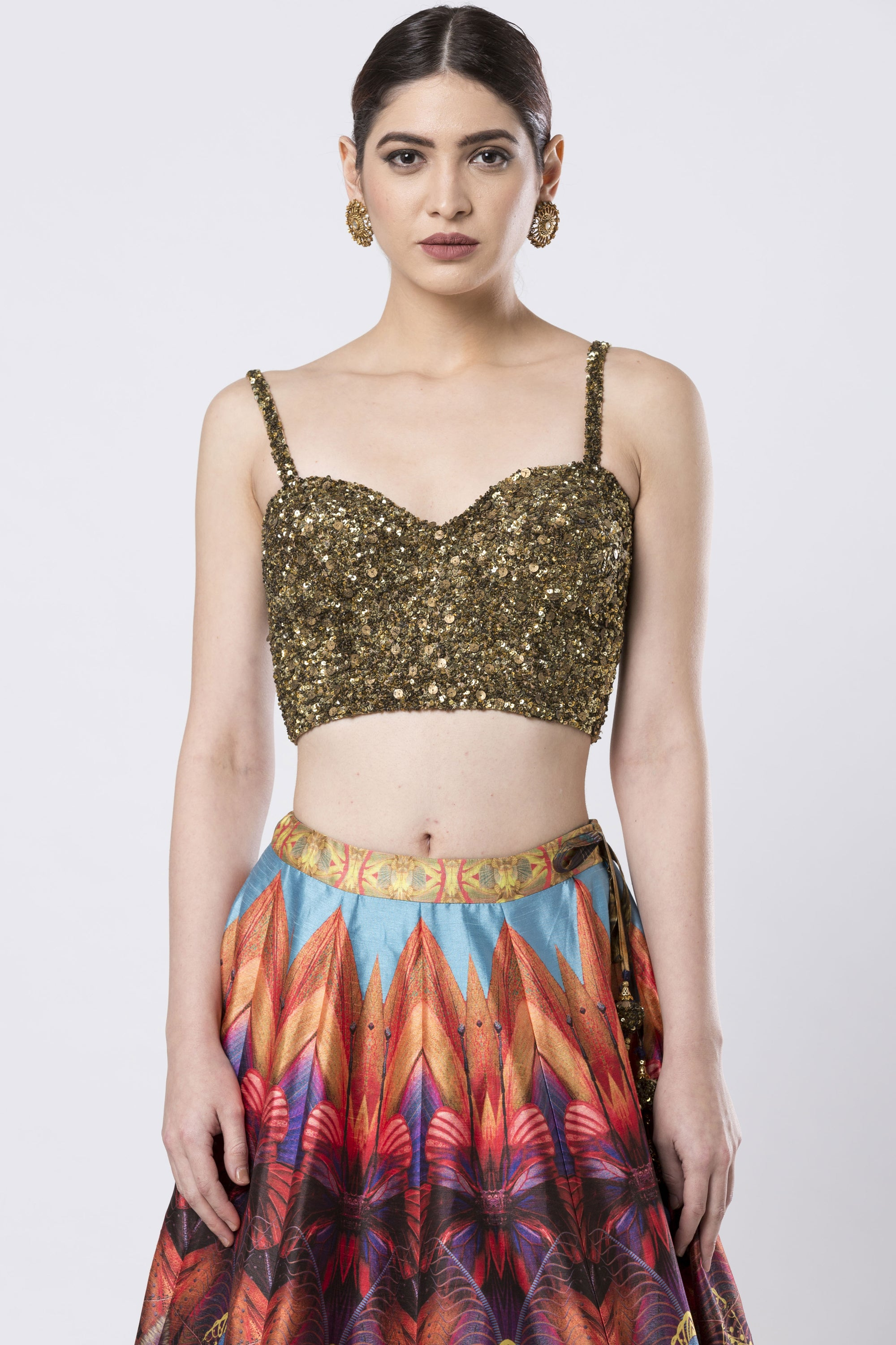 Hand Embroidered Multi-Coloured Raw Silk Skirt Set CLOSE