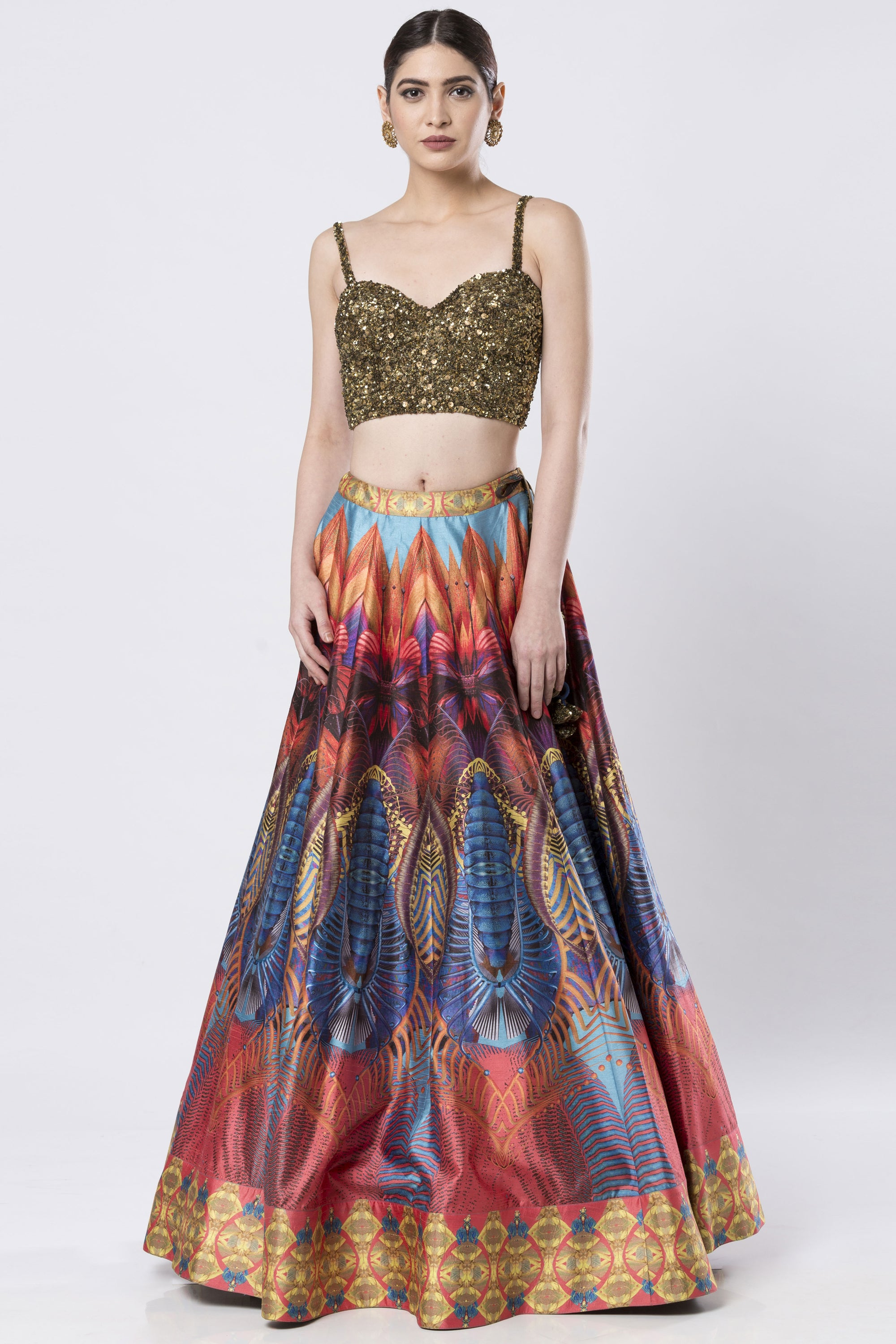 Hand Embroidered Multi-Coloured Raw Silk Skirt Set FRONT