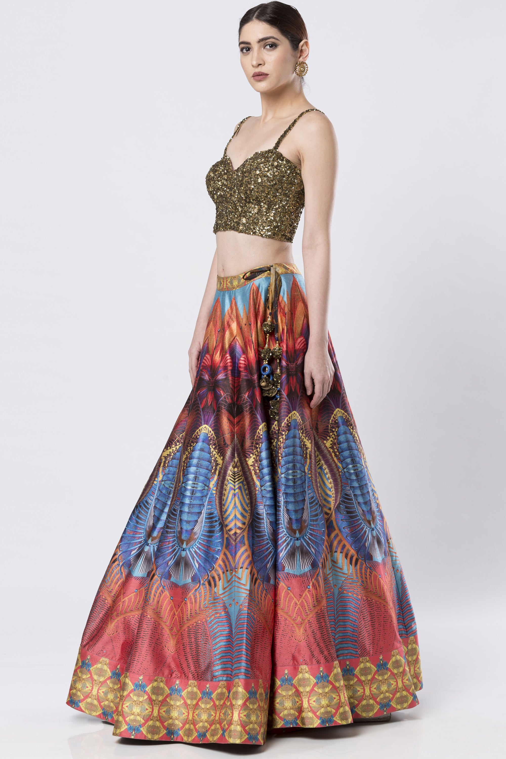 Hand Embroidered Multi-Coloured Raw Silk Skirt Set SIDE