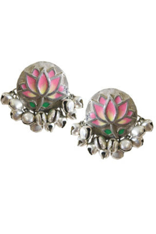 Pink Lotus Silver Ear Studs