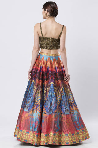 Hand Embroidered Multi-Coloured Raw Silk Skirt Set