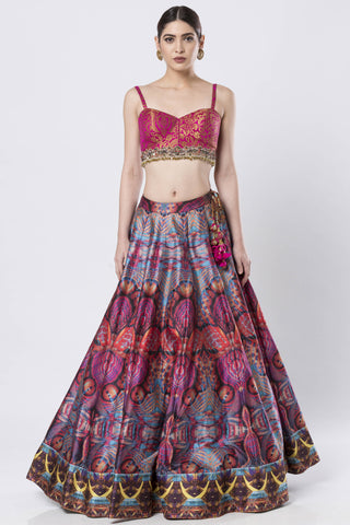 Hand Embroidered Pink Brocade & Raw Silk Skirt Set FRONT