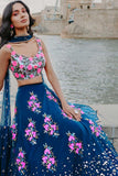 Blue Lehenga With Hot Pink Embroidered Motifs