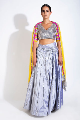Out Shine Silver Lehenga & Dupatta