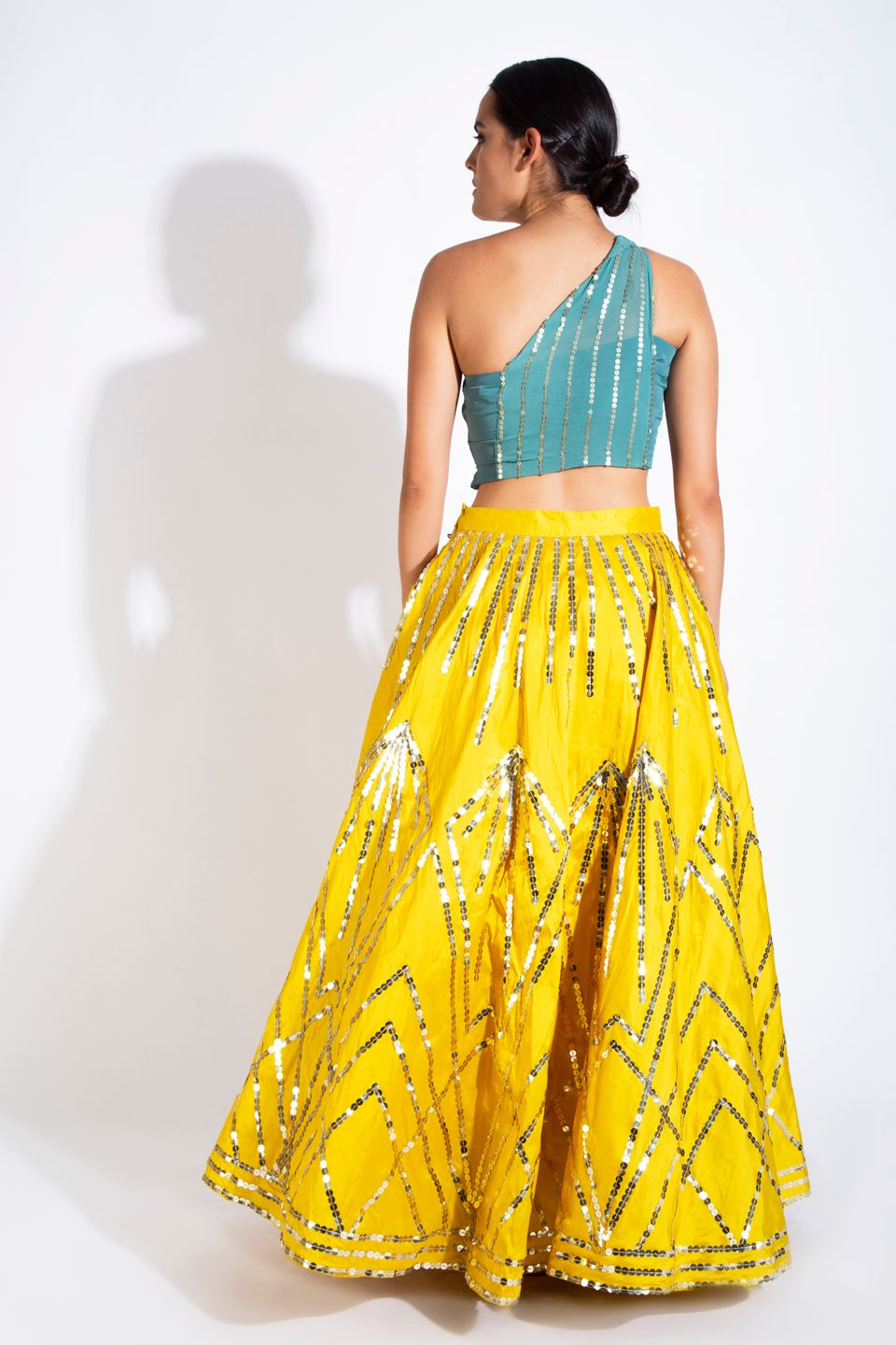 Sunflower Yellow Embellished Skirt & Teal Green Crop Top BACK