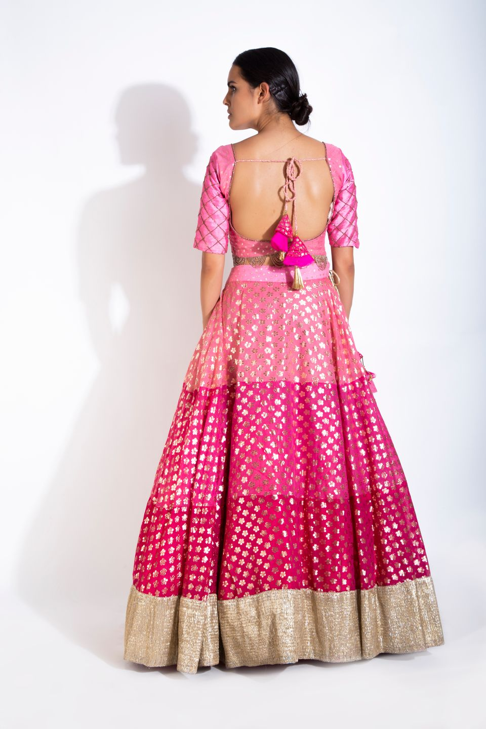 Three Shades Of Pink Lehenga Set BACK