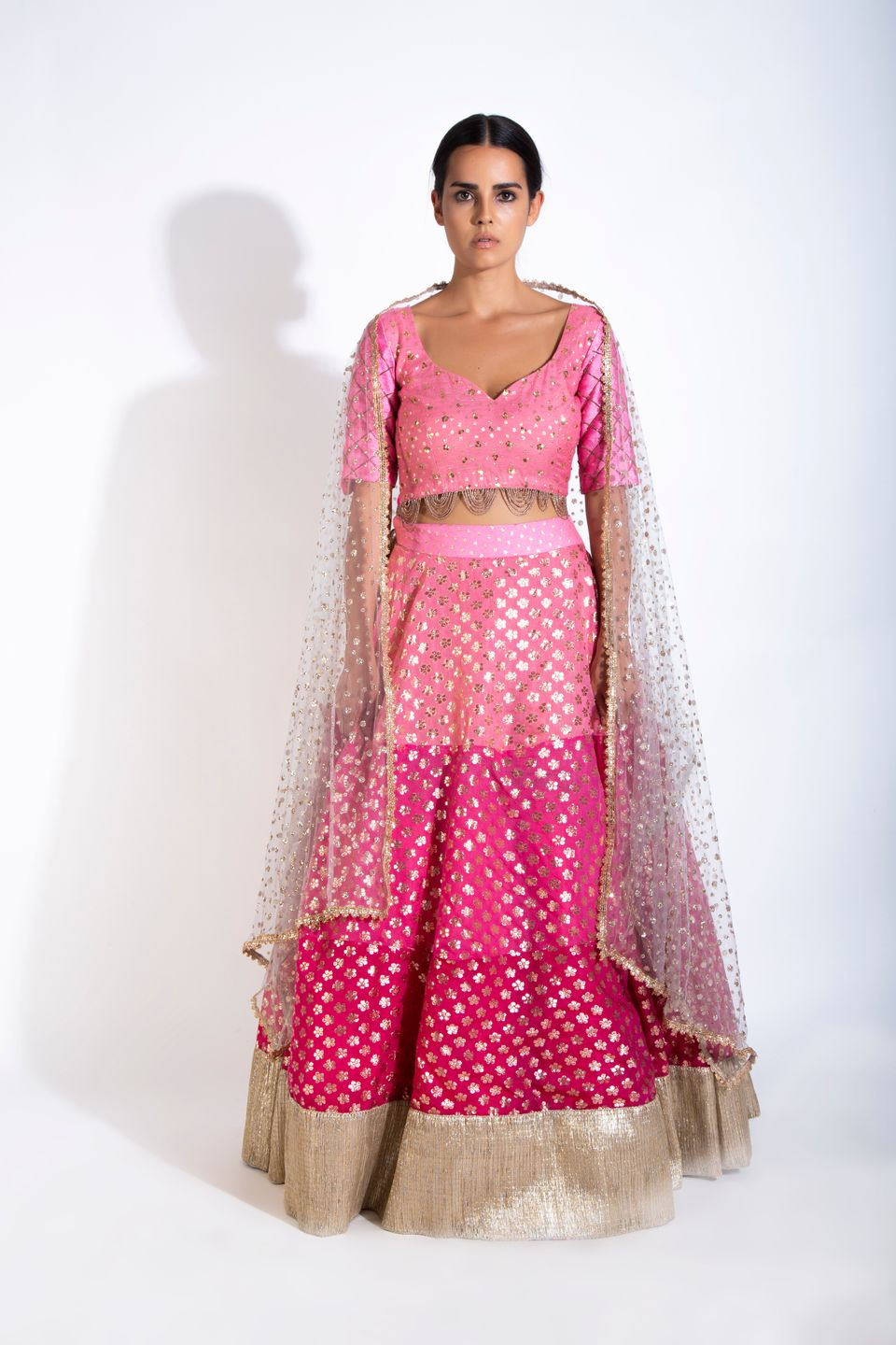 Three Shades Of Pink Lehenga Set FRONT