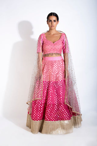 Three Shades Of Pink Lehenga Set