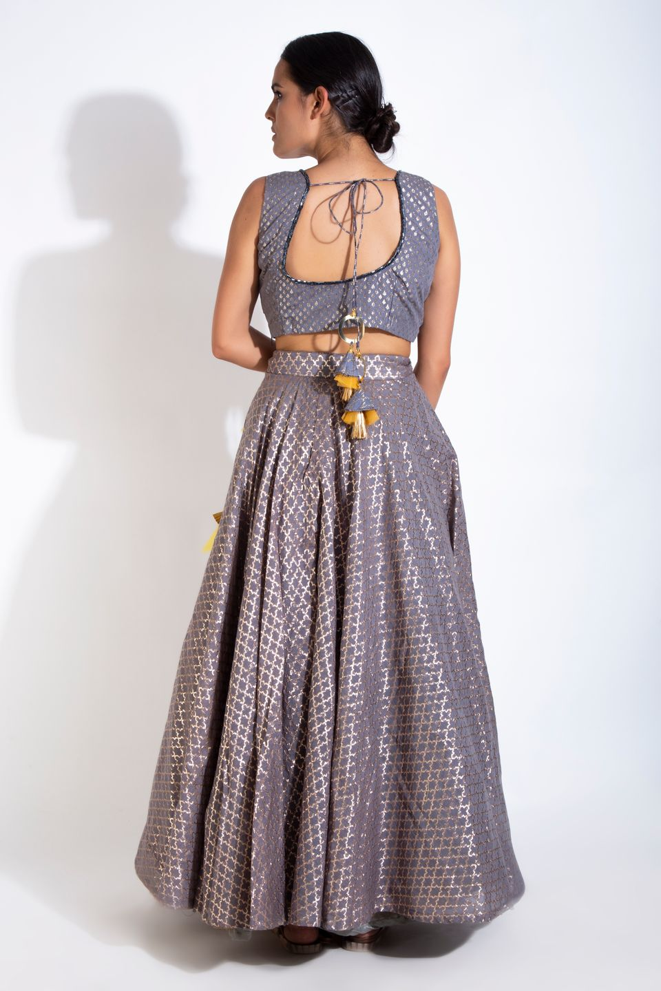 Grey Chanderi Lehenga BACK