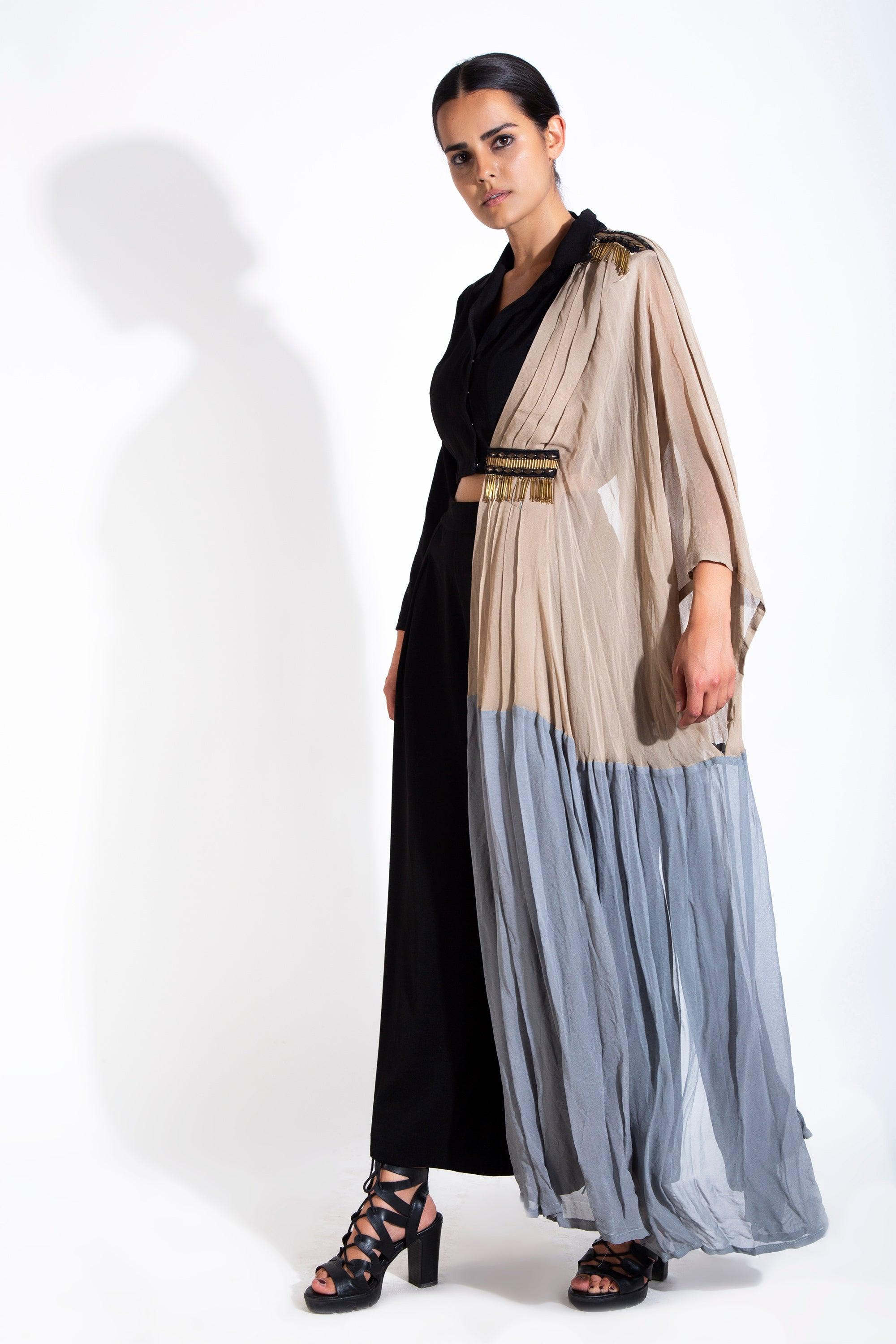 Black One-Sided Draped Shirt With Pants SIDE