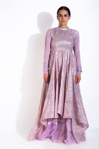 Modest Mauve Four-Panel Anarkali & Palazzo
