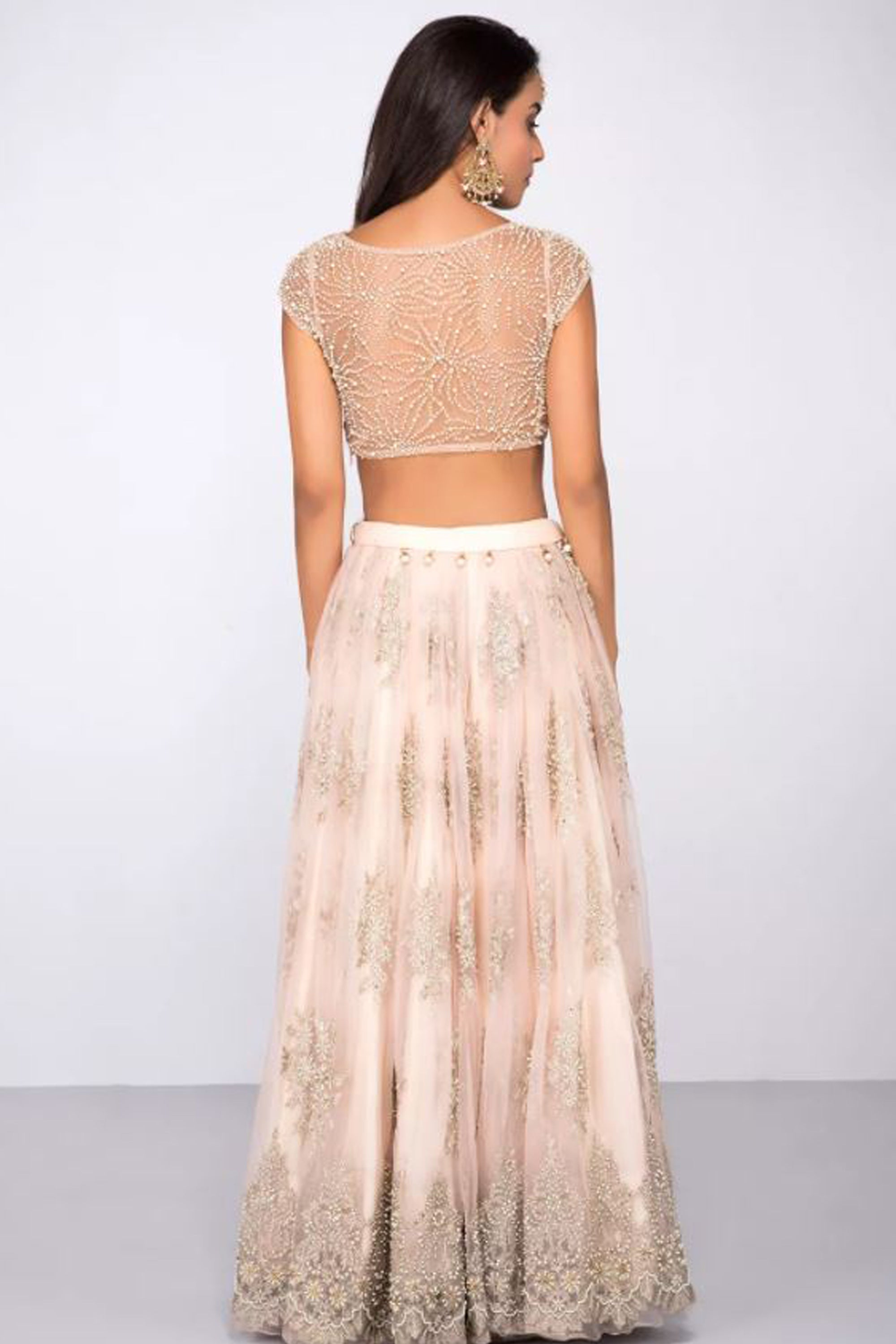 Rose Pink Lehenga With Pearl Work & Embroidery Back