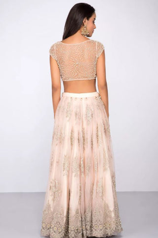 Baby Pink Lehenga With Pearl Work & Embroidery