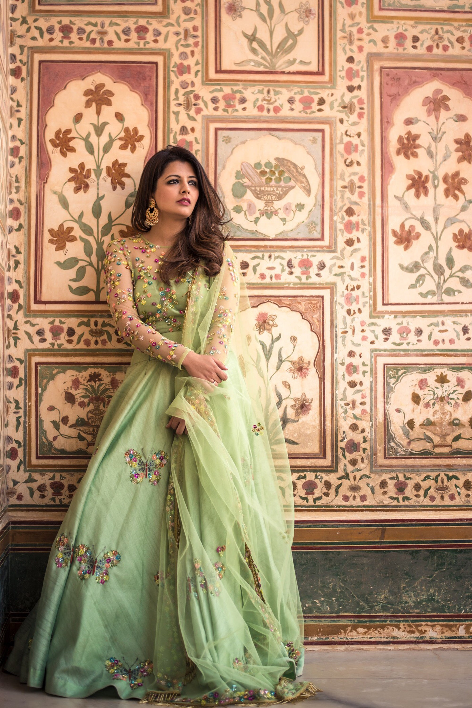 Tea Green Butterfly Lehenga With Embroidered Blouse & Dupatta Front
