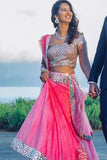 Pink Punch Lehenga With Blouse & Dupatta