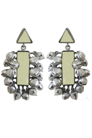 Silver Plated Earrings With Mirrors
