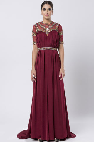 Deep Maroon Gown With Jewelled Belt FRONT