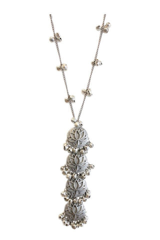 Silver Lotus Long Necklace