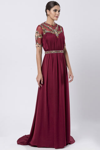 Deep Maroon Gown With Jewelled Belt