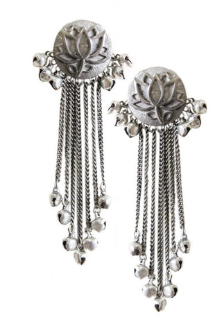 Silver Lotus Tassel Earrings