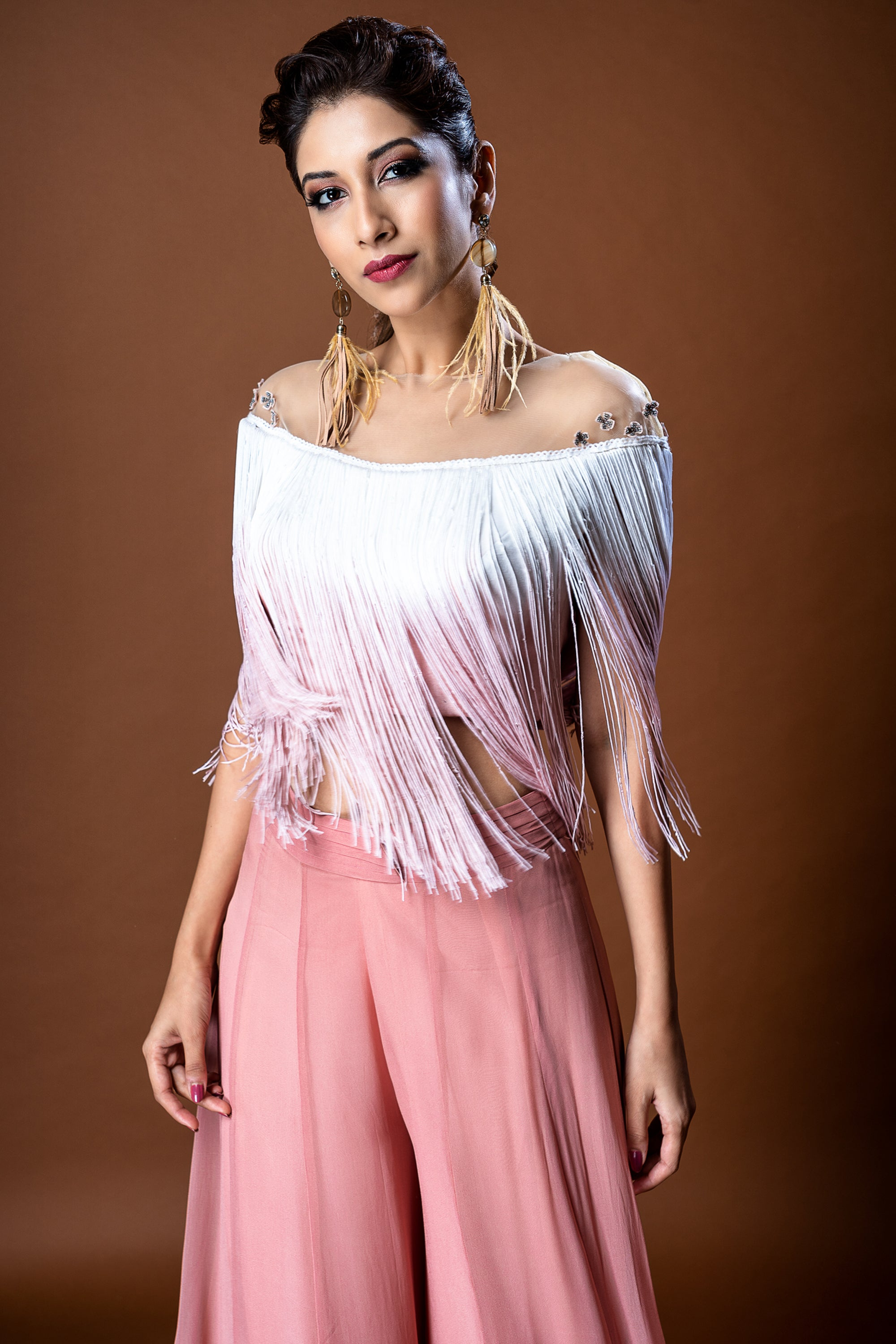 Nude To White Shaded Fringe Top CLOSE